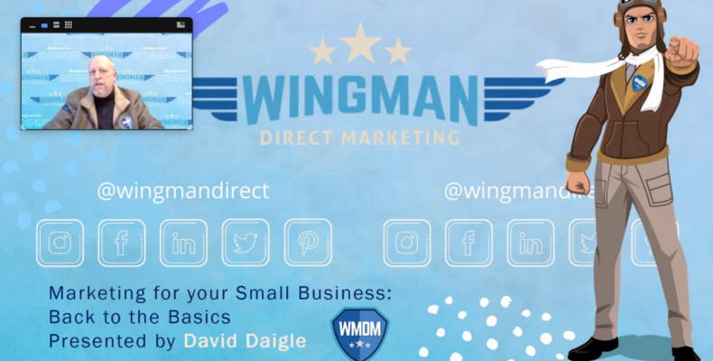 Small Business Owner vs. Entrepreneur: Which One Are You? Zoom meeting with David Daigle showing presentation including Wingman avatar.