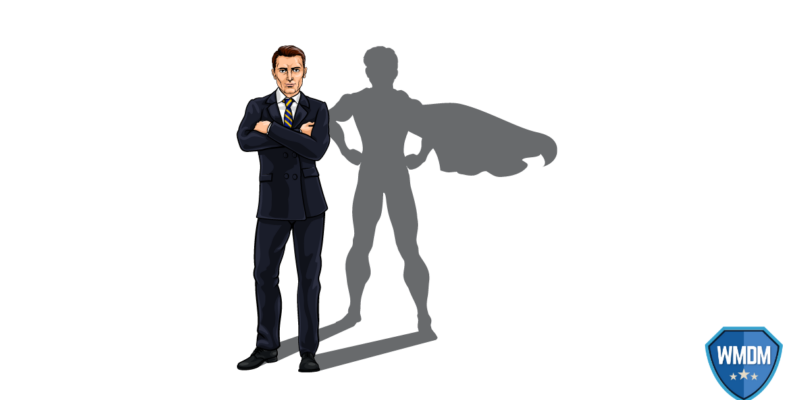 Mental Health - Businessman with shadow of superhero